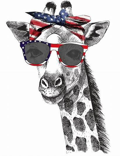 Giraffe Patriotic Graphic Sublimation Tee Tees Trendy