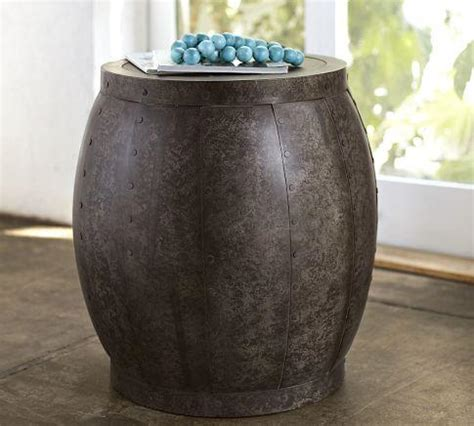 metal drum accent table marlow metal drum accent table pottery barn