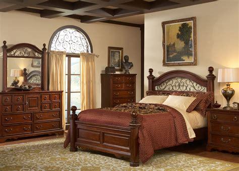 castille poster bed 6 bedroom set in rustic brown