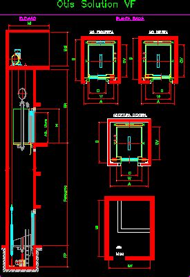 otis elevator dwg section  autocad designs cad