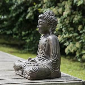 Statue Bouddha Interieur : statue bouddha assis position offrande brun 42 cm ~ Teatrodelosmanantiales.com Idées de Décoration
