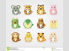 Conjunto Del Icono De 12 Animales, Animal Chino Del