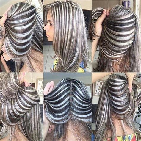 black and white hair color ash grey and silver white stripes hair color inspo such a