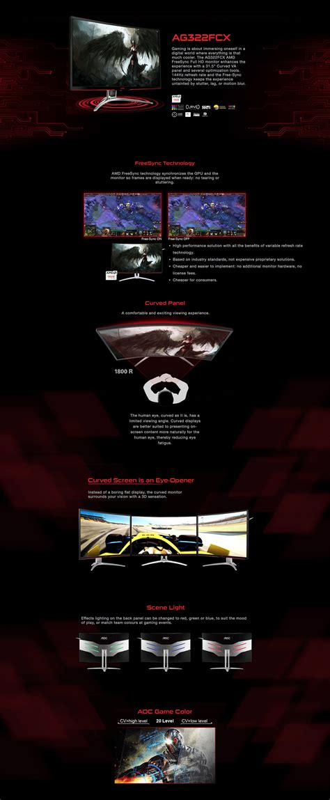 aoc agon agqcx curved gaming monitor  tech computers