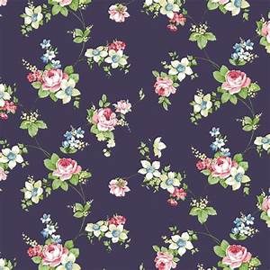 Antique Rose Navy Flower Pattern Self Adhesive Wallpapers