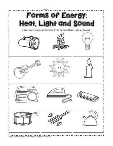 heat and light energy worksheets for grade 1 heat light or sound worksheets