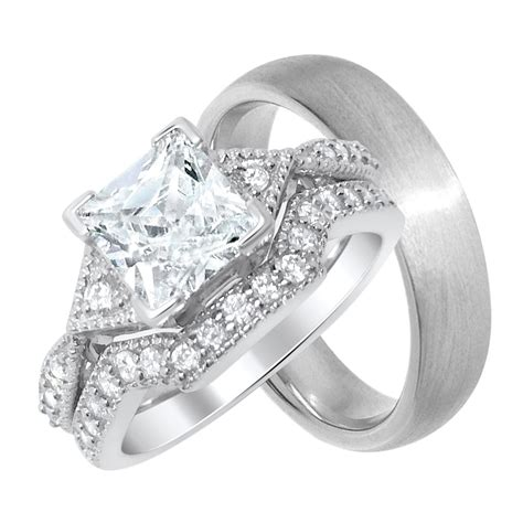 his and hers affordable wedding rings looks real not cheap laraso co