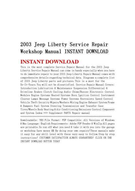 Jeep Liberty Service Repair Workshop Manual Instant