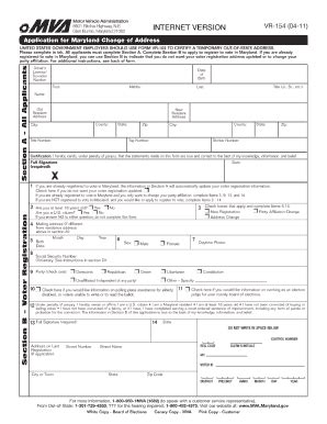 2011 form md vr 154 fill printable fillable