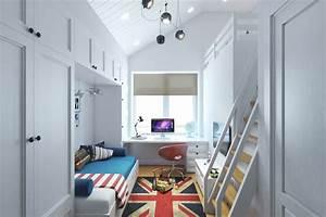 Small Teenage Room Design with a Second Floor Sleeping