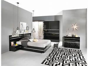 Chambre A Coucher Conforama : lit adulte 140x190 cm glass coloris noir vente de lit ~ Melissatoandfro.com Idées de Décoration