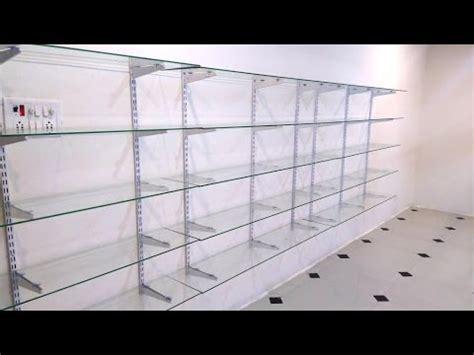 iron shelf glass rack design for shop home office business