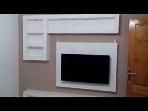 Meuble Tv Mur : decoration meuble tv placo tunisie 2016 youtube ~ Teatrodelosmanantiales.com Idées de Décoration