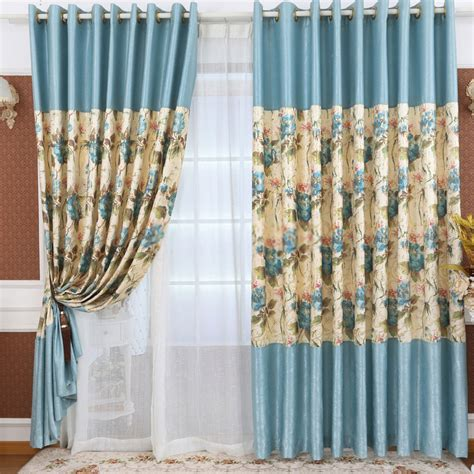 blue colored floral inexpensive curtains and drapes