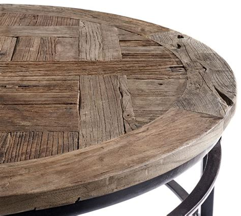 round wood coffee table parquet reclaimed wood round coffee table pottery barn