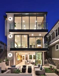 Beachfront, Luxury, Modern, Home, Exterior, At, Night
