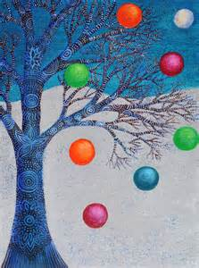 winter solstice tree and winter tree with baubles artist