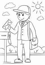 Coloring Mail Carrier Printable Professions Helpers Drawing Categories Dot Supercoloring Crafts sketch template