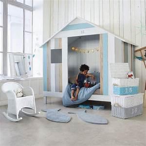 Cabane Chambre Fille : lit cabane enfant 90x190 blanc et bleu lit cabane pinterest lit cabane lits et bois blanc ~ Teatrodelosmanantiales.com Idées de Décoration