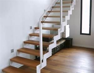 Escalier Bois Blanc : escalier zen 4 cr am tal droit blanc m tal laqu marches bois rambarde verre limon ~ Melissatoandfro.com Idées de Décoration