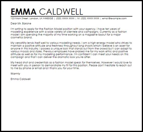 Model Of Cover Letter For Resume by Fashion Model Cover Letter Sle Livecareer