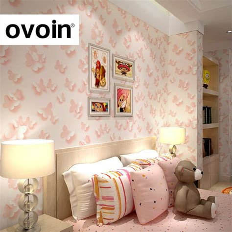 bedroom with pink walls modern child 3d butterfly wallpaper roll for walls girls 14476 | Modern Child 3D Butterfly Wallpaper Roll For Walls Girls Bedroom Home Decor Baby Room Pink Children