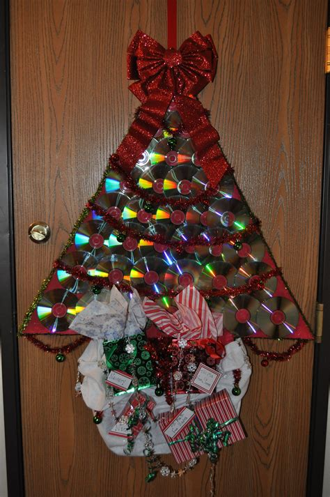recycled christmas tree contest i made this for a door contest i started with foam board painted it and cut out