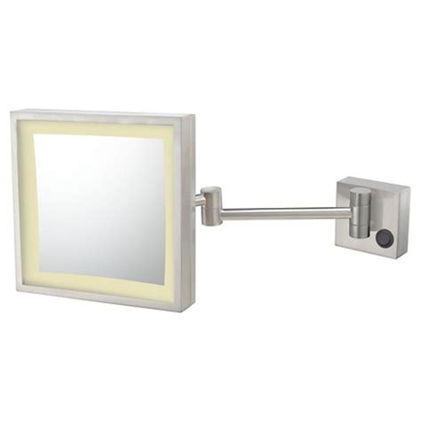 Magnified Bathroom Mirror by Square Single Sided Led Lighted Hardwired Wall Magnified