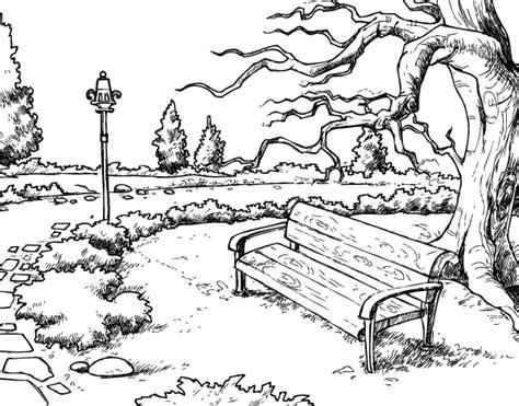 dibujo de paisaje de parque  colorear dibujosnet