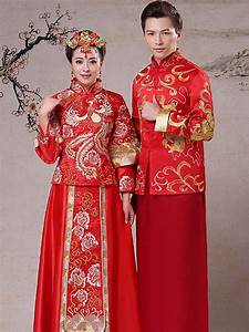 Gold phoenix embroidered red KwaQun traditional Chinese ...