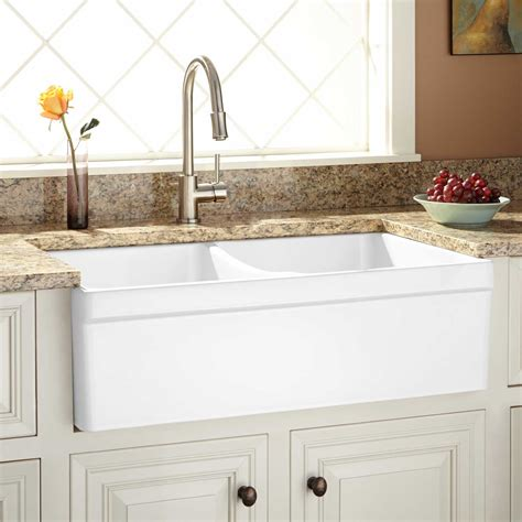 fiammetta double bowl fireclay farmhouse sink belted