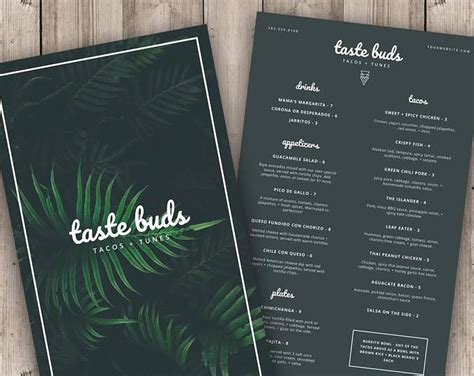 menu template printable menu modern menu minimalist