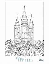 Temple Coloring Salt Lake Lds Mormon Template Pages Popular Pdf 78kb 2550 3300px sketch template