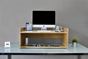 Ergonomic Standing Desk With Unfinished Wooden Laptop