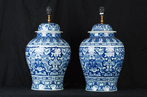chinese ginger jar table ls pair chinese blue and white porcelain urn ls ginger jar