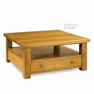 Table Carree Chene : table basse carr e 100 ch ne massif dessus fil ~ Teatrodelosmanantiales.com Idées de Décoration
