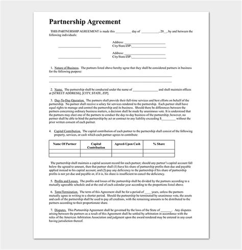 partnership agreement template  agreements  word