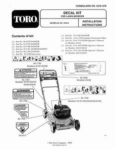 Toro Decal Kit  For 20438 And 20439 21 U0026quot  Recycler Ii Super