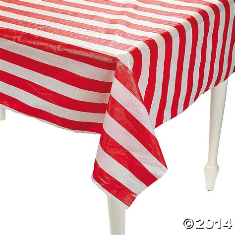 red white striped plastic tablecloth roll  ft party
