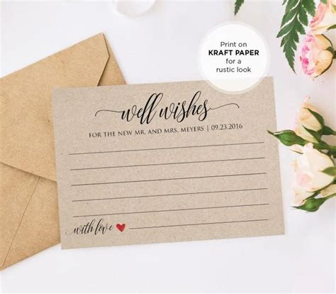 wishes printable wedding advice card template