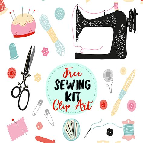 sewing kit clip art elements  pretty