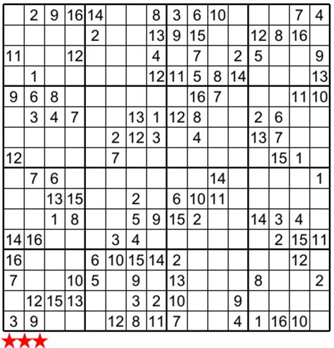 When you are done, click 'solve sudoku' to find out the solution for the remaining cells. Super Sudoku 16X16 e : no 3