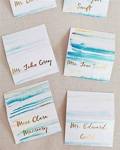 diy gold foil place cards watercolor background heidi With minc foil wedding invitations