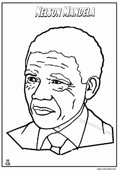 Mandela Nelson Coloring Pages Drawing Famous Printable