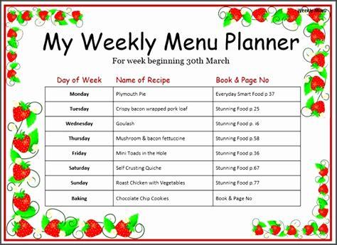 weekly menu templates  sampletemplatess