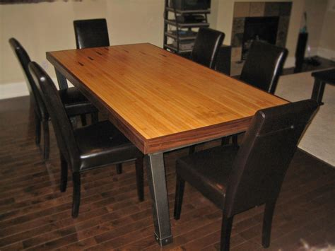 Hand Made Dining Table, Iron & Reclaimed Bowling Lane By