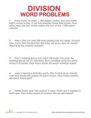 4th grade math worksheet multiplication and division word problems division word problems worksheet education