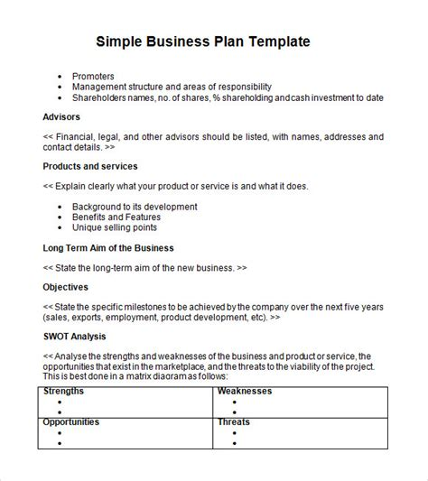 Basic Business Plan Template by Free 21 Simple Business Plan Templates In Pdf Word Psd