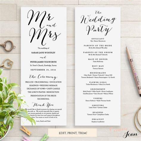 wedding programs instant  template sweet