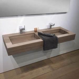Double Vasque Salle De Bain : plan double vasque salle de bain suspendu 121x46 cm pierre stonewood ~ Teatrodelosmanantiales.com Idées de Décoration